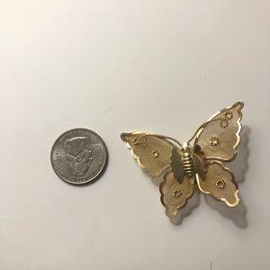 Vintage butterfly gold brooch mesh wings